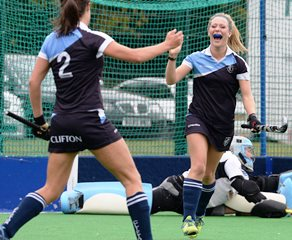 Els MANSELL celebrates scoring for Clifton Ladies Hockey Club, image courtesy England Hockey